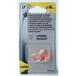 Cartec 211617 Set de 5 Joints Métalloplastiques, Ø14 mm
