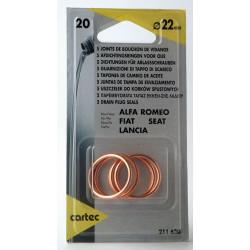 Cartec 211620 Set de 5 Joints Métalloplastiques, Ø22 mm